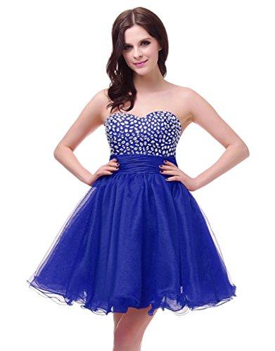 Vantexi Damen Trägerlosen Kleider Kurz Partykleid Ballkleid Blau