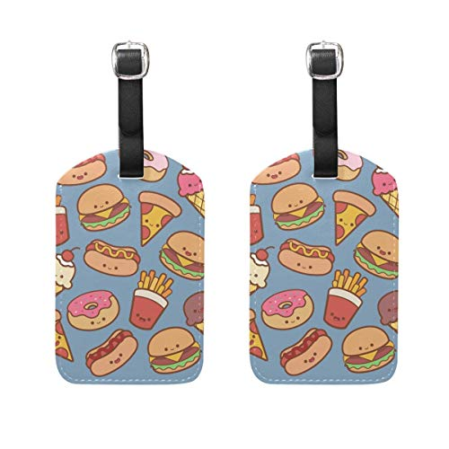s Burger Luggage Tags 2 PCS Travek Bag Labels Suitcase Tag for Men and Women 00df5103 ()