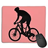 Mouse Pad Man Riding Bicycle Art Rectangle Rubber Mousepad 8.66 X 7.09 Inch Gaming Mouse Pad with Black Lock Edge
