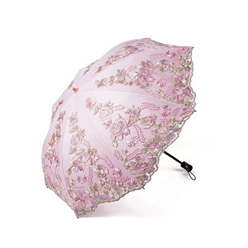 Lxpab ombrellone in pizzo ricamato protezione solare protezione uv paraluce in paglia ombrello ombrellone protezione in plastica nera spiaggia (colore : rosa)