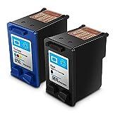 Remanufactured HP 56 HP 57 HP56/57 Druckerpatronen Kompatibel für PhotoSmart7260/7350/7450/7660/7760/7762/7960/C4180/C4280/C5180/C5280/C6280,2 Stück (1 Schwarz +1Tri-Farbe)