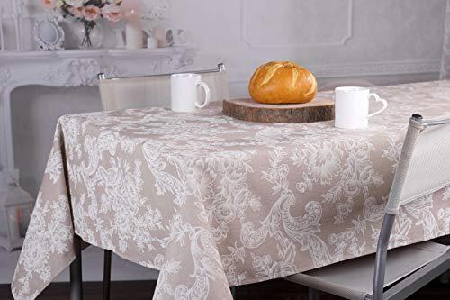 Homelife tovaglia rettangolare 6 posti | tovaglia copritavolo misure 140x180cm | made in italy in misto cotone/poliestere | fantasia stile barocco colore beige