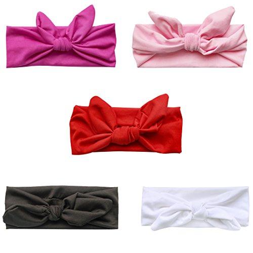 iEFiEL 5 Stück Süßes Baby Mädchen Elastic Hasenohren Stirnbänder Haarbänder Kopftuch
