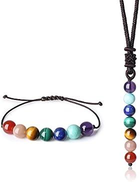 COAI® Sieben Chakren Halskette und Ambänder Joga Tibetische Eigenheit für Frauen und Männer