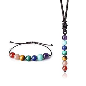 coai Damen 7 Chakra Halskette und Amband 2pcs Yoga Schmuck