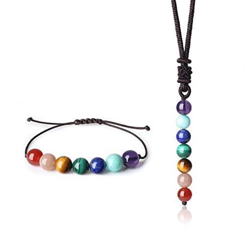 Coai set parure bracciale e collana con pietre dei 7 chakra per equilibrio reiki, laccio regolabile