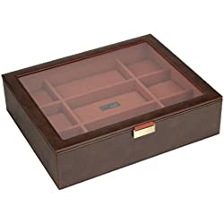 STACKERS Men's Casual Brown 15pc Glass Lidded Watch Stacker with Orange Canvas Lining