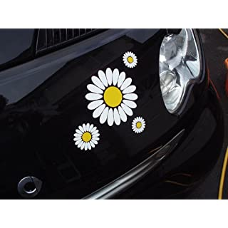Aurum92 Daisy Stickers for Car, White