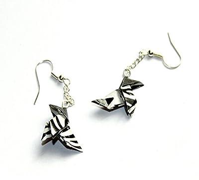 Boucles d'oreilles cocotte origami zébrée