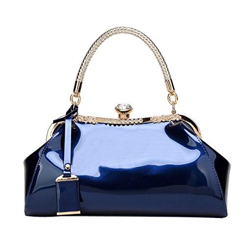 Frauen Lackleder Glossy Shell Schulter Abendtaschen Für Party Clutches Handtasche,Blue-M