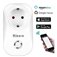Aitere Wi-Fi Mini Smart Plug with Switch and Timing Function for IOS/Android - Compatible with Amazon Alexa [Echo, Echo Dot] & Google Home - Control Devices from Anywhere, Anytime