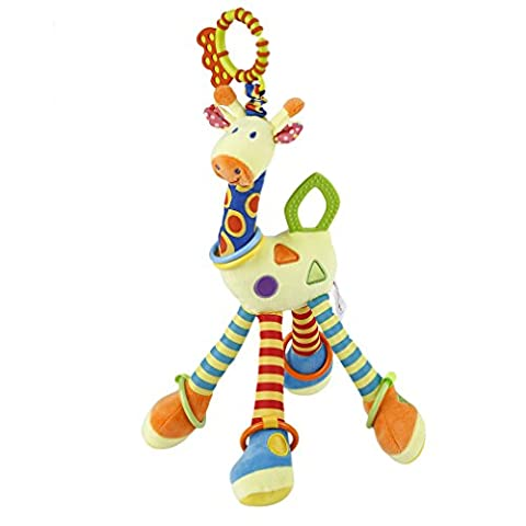 Soft Toy Plush Giraffe Animal,Infant Baby Toys Handbells Rattles Developmental Interactive Toy Hanging for Crib,Pushchair and Interactive
