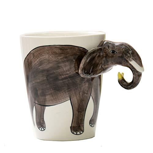 PLL Taza Creativa Pintada a Mano Elefantes Grises Que modelan Taza de cerámica Taza de café Encantadora
