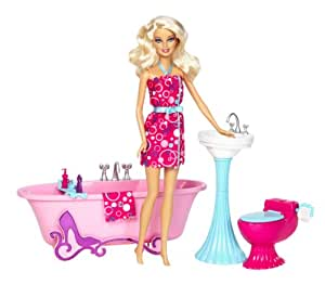 Barbie Glam Bathroom Furniture and Doll Set: Amazon.in ...