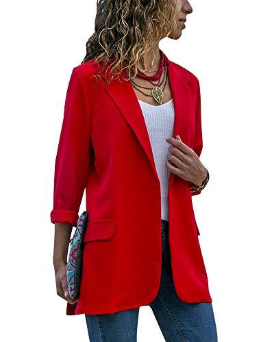 QitunC Damen Lang Blazer Strickjacke Casual Slim Langarm Jacke Open Front Mantel Anzugjacke Rot XXL