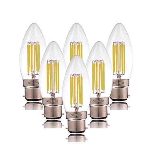 Century Light–6W LED-Leuchtmittel Glühfaden-Kerze, 6000K, Tageslicht (kühles Weiß), B22Bajonett-Sockel, C35kerzenförmiger Kopf, entspricht 60W Glühbirne, nicht dimmbar (110V-240V), 6Stück (Bajonett-sockel)