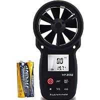 Anemómetro Digital con Luz de Fondo y Máx./Min, Medidor de Velocidad de Viento LCD de Mano para Medir la Velocidad del Viento, la Temperatura y el Viento