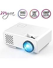 Myra Q1 Mini LED Video Projector, 1500 Lumens Multimedia Home Theater Video Projector Supporting 1080P, HDMI, USB, VGA, AV for Home Cinema