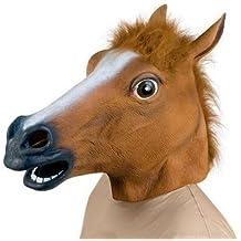 Bingsale Máscara de Caballo de Látex de Halloween Máscara de Completa Mask de Disfraces de Animales Caballo Cabeza de Caballo (Bronce)