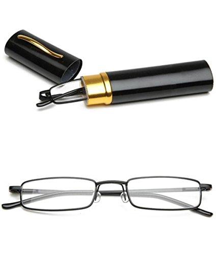VEVISTARS Lesebrillen Herren Damen Tragbar Brillenhülle Metall Klassische Scharnier Schmal Leichte Stil Stärken lesebrille mit Etui Taschenclip Brillenetui (Schwarz, 1.0)