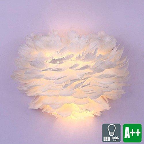 Modern LED Wandleuchte, Kreative Wand-Licht, Weiß Feder Lampenschirm, Romantisch Innen Wandleuchte, Schön Wohnzimmer Wand-Beleuchtung, Schlafzimmer Nachttischlampe, 16W 1120 Lumen Warmweiß