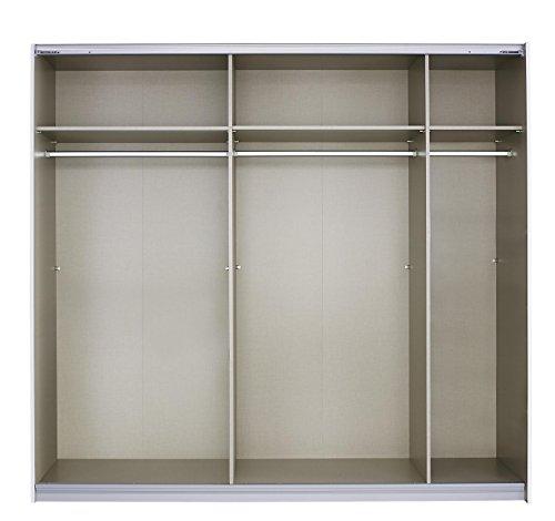 Rauch Schwebetürenschrank mit Spiegel 2-türig, Glas Absetzung Schwarz, BxHxT 225x210x62 cm