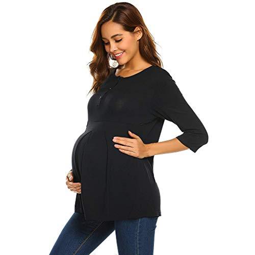 Mutterschaft,Schwangerschaft/Umstandsmode/Schwangerschaftsshirt, Schwangeres Stillen Nursing Schwangerschaft Top,Damen Maternity Stillshirt Langarmshirt Schwangerschaft Umstandsshirt Top