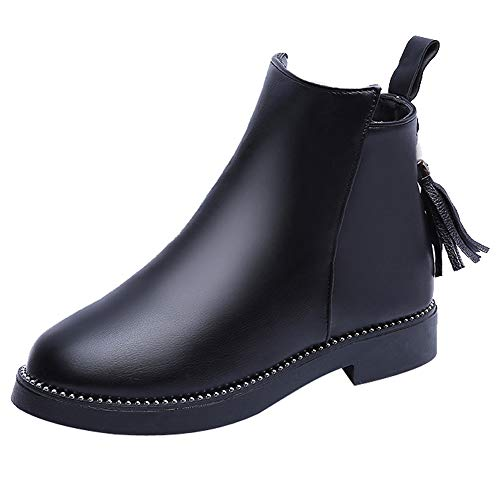 Clearance Women Boots,Innerternet 2018 Women Round Toe Shoes Tassel Booties Zipper Leather Solid Color Martin Boots Tops Sandals