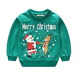 Meedot Kinder Weihnachten Langarm Sweatshirt Unisex Weihnachten 3D Impression Pullover Schneemann Rentier Pullis