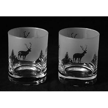 Scottish stag gift (highland scene) whisky glasses