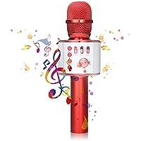 Bluetooth Karaoke Mikrofon, NASUM,tragbare drahtlose Mikrofon mit Lautsprecher für Erwachsene und Kinder für Sprach- und Gesangsaufnahmen,kompatibel mit Android /IOS, PC oder Alle Smartphone