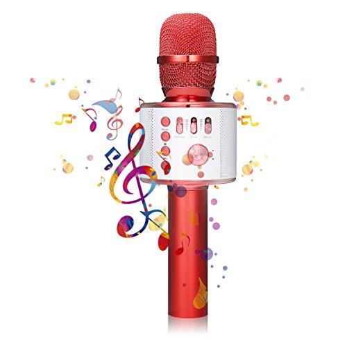 Bluetooth Karaoke Mikrofon, NASUM, tragbares drahtloses Mikrofon, 4.1 Lautsprecher für die Aufnahme von Sprach und Gesang,für Party, Podcast,Familie. kompatibel mit Android /IOS, PC oder Alle Smartphone (rot).