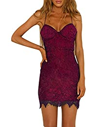 Robe en Dentelle, GreatestPAK Femmes Sexy Rembourré Skinny Night Club  Clubwear Mini Robe ... 961efbd6bba5