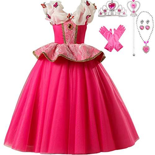 IWFREE Mädchen Kostüme Prinzessin Aurora Dornröschen Verkleidung Faschingskostüm Karneval Cosplay Party Halloween Festkleid Kleider Geburtstag Party Ankleiden (Aurora Kostüm Schuhe)