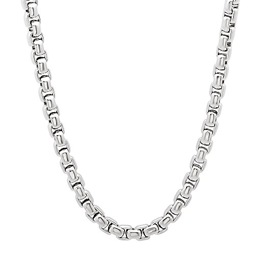Durable Solid Stainless Steel 4.5mm Rounded Box Link Chain Necklace, 91 cm