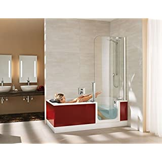 Artweger Twinline 2Shower Bath 1800mm x 800mm with Glass Shower Screen White with opening Apron ArtWall Rust