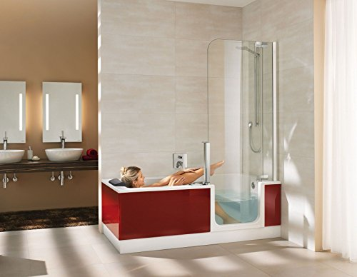 Artweger Twinline 2 Kombiwanne Badewanne mit Tür und Dusche 180 cm Duschabtrennung silber hochglanz