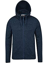 Mountain Warehouse Sweat Homme Capuche Cordon de serrage Zip Polaire épais Idris Bleu Canard M