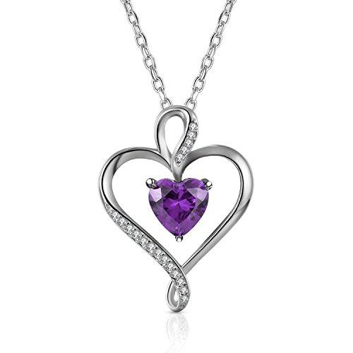 Caperci 925 argento sterling ametista collana con ciondolo a forma di cuore per donne, 18