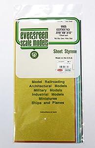 Evergreen-009905Farbige poliestireno Placas, 5Unidades, 0,25x 152,4x 304,8mm Plástico Maqueta de, Modelo Ferrocarril Accesorios, Hobby, de construcción