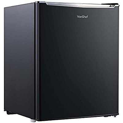VonShef 75L Fridge with Freezer Compartment - Table Top Refrigerator with 3 Shelves, Door Storage and Temperature Control - H62cm W48cm - Black