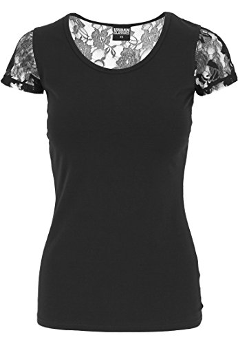URBAN CLASSICS - Ladies Back Laces Tee (black) Black