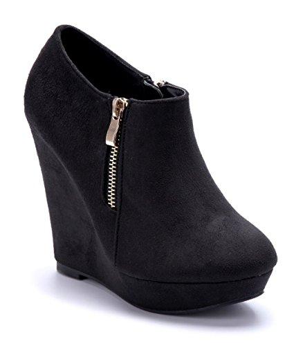 Schuhtempel24 Damen Schuhe Ankle Boots Stiefel Stiefeletten schwarz Keilabsatz Reißverschluss 12 cm High Heels