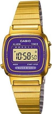 CASIO La670Wega-6Ef de cuarzo, correa de acero inoxidable color oro