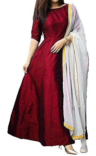 S R Fashion Womens Tapeta Silk Plain Full Stitched Long Gown With...