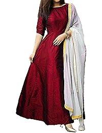 Purva Art Womens Maroon Tapeta Silk Stitched Long Gown With Off White Dupatta (PA_2605_Maroon_Tapeta Silk_Stitched_JFW...