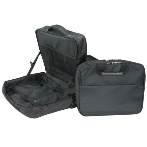 D&N Business & Travel 2-Rollen Businesstrolley mit Laptoptasche, schwarz Schwarz