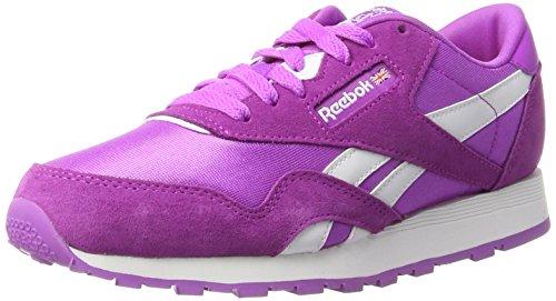 Reebok Unisex-Kinder Classic Nylon Sneaker Violett (Vivacious Violet/White) 36 EU Kinder Classic Nylon