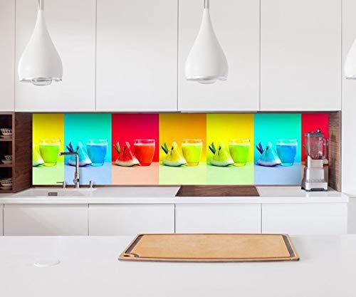 Aufkleber Küchenrückwand Saft Melone Zitrone Glas bunt Küche Folie selbstklebend Dekofolie Fliesen Möbelfolie Spritzschutz 22B045, Höhe x Länge:60cm x 60cm Küche Saft