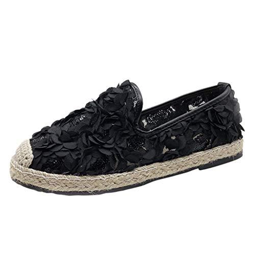 Fannyfuny Sneaker Sandalen DamenOutdoor Bequeme Elegante Faule Schuhe Einzelne Schuhe Casual Flache Sandalen Mesh Atmungsaktiv Leichte Wanderschuhe mit Blume Pumps Sandalen Schwarz, Beige, Pink 35-40 (Fake Clarks Schuhe)